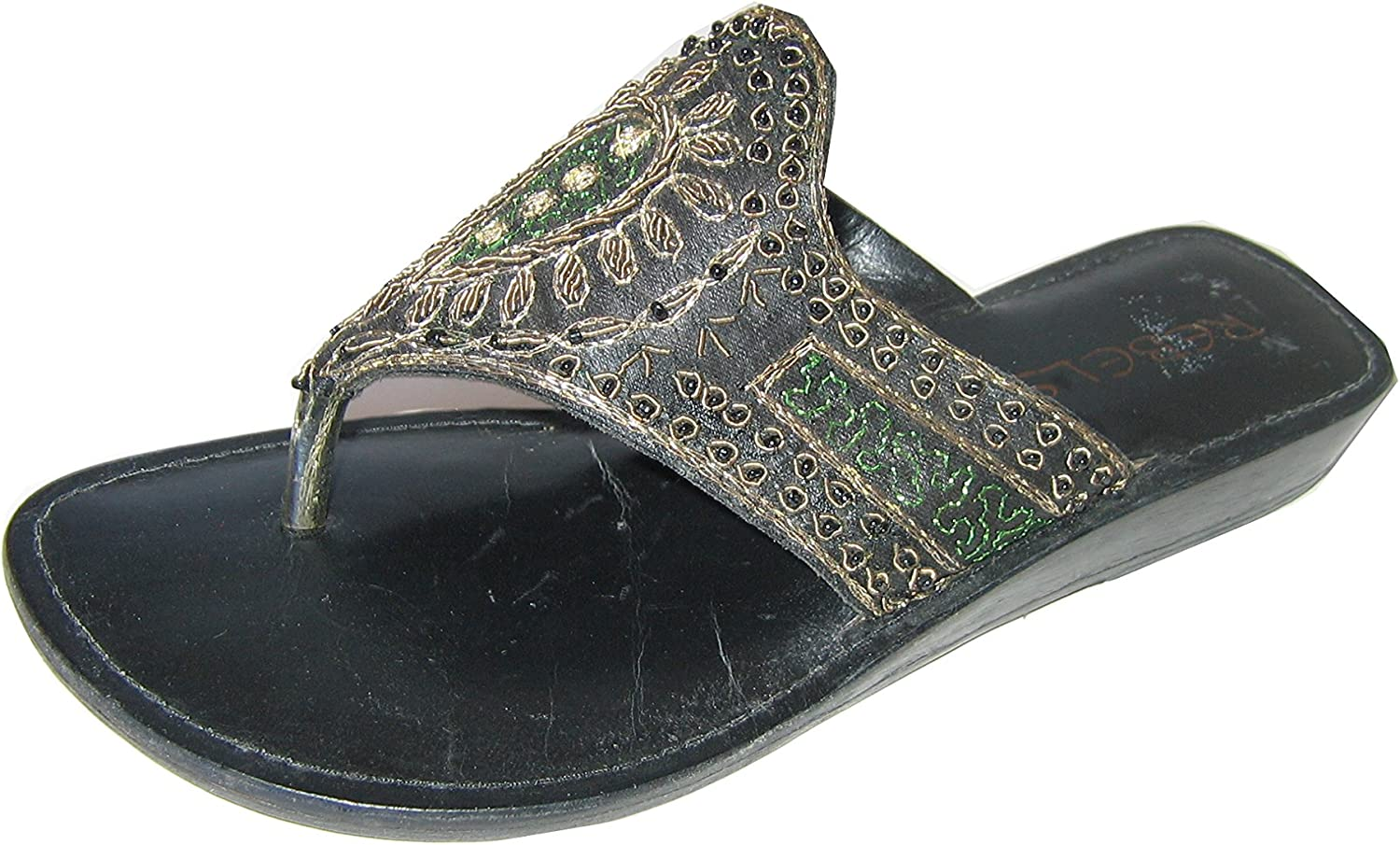 Rebel Wedge Sandal Mule Satine Leather with Sequence & gold Embroidered bluee, Black