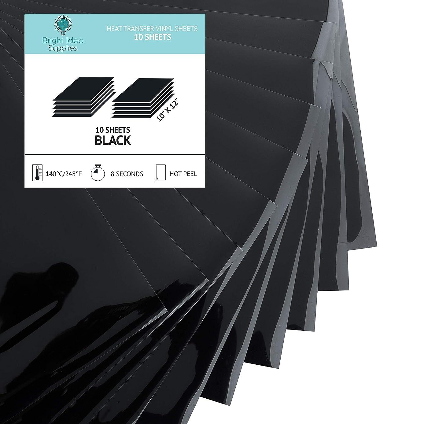Bright IDEA Heat Transfer Vinyl HTV Bundle - 10 Pack of Premium Black HTV Sheets - Iron On T-Shirt Vinyl Transfer Sheets - Best HTV Vinyl for Silhouette Cameo, Cricut, Heat Press