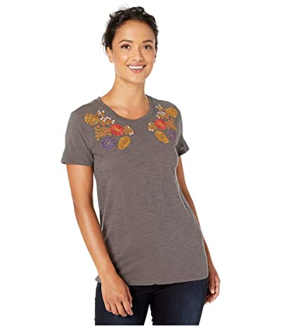 Lucky Brand Floral Embroidered Chest Tee (Black Mountain) Women