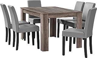 [en.casa] Table à Manger en chêne Ancien avec 6 chaises Gris Brilliant Cuir-synthétique rembourré 140x90