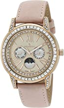Peugeot Women Crystal Bezel Dress Watch, Day Date Moon Phase Function & Mother of Peal Dial with Roman Numeral, Suede Strap