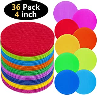TABIGER Carpet Markers 36 PCS 9 Colors Sitting Floor Spots Hook and Loop Circles Dots for Teachers and Children in Kindergarten and Preschool Classrooms with Storage Bag