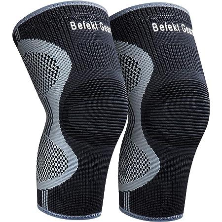 Befekt Gears 2 X Genouillère Rotulienne Crossfit et Ligamentaire, Genouillère Sport de Compression Respirant et Antidérapant Maintien pour Course, Récupération, pour Hommes/Femmes