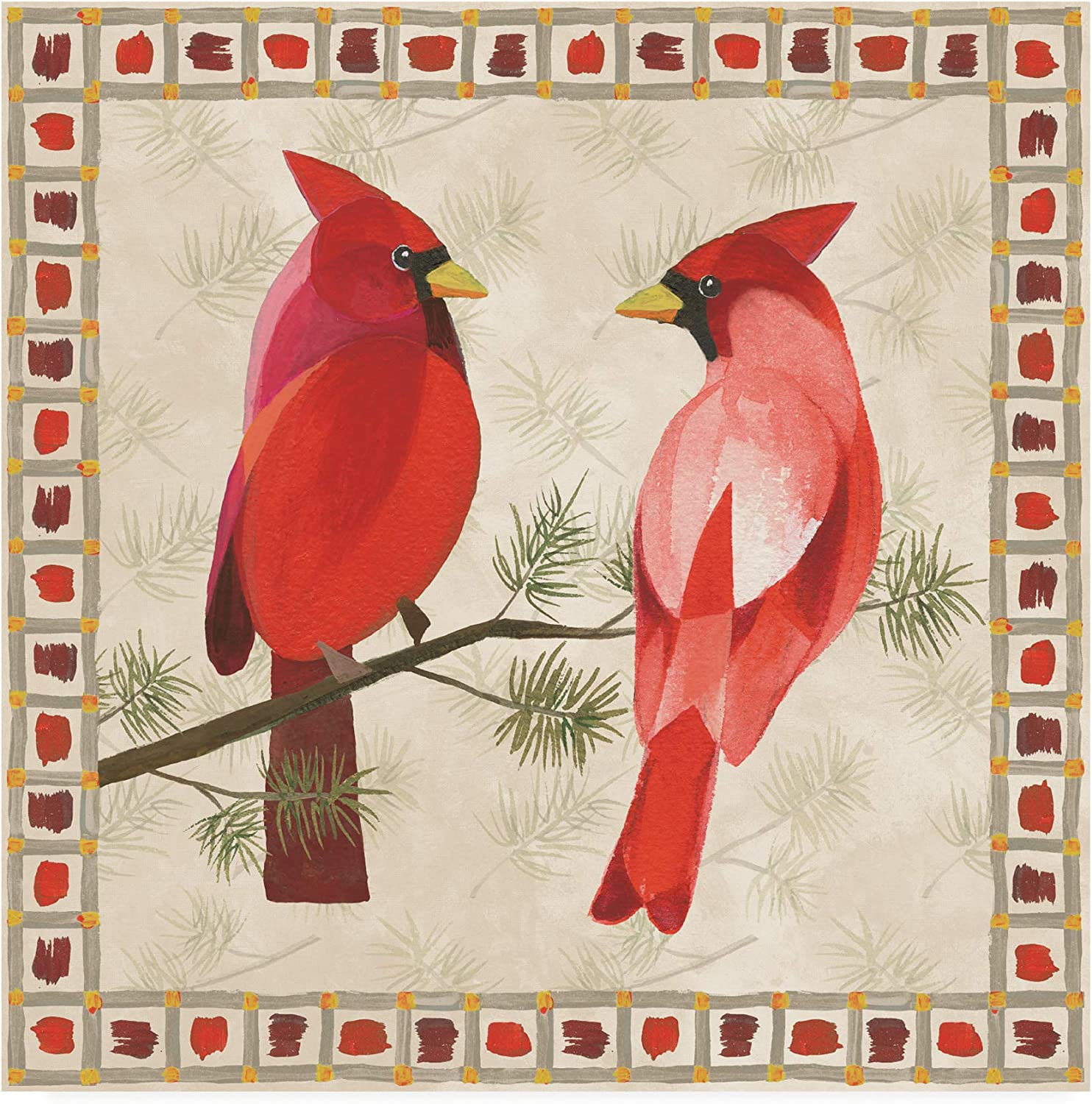 Trademark Fine Art Festive Birds Two Cardinals by Danhui NAI, 14x14