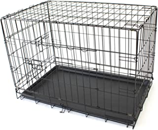 "30"" Medium Pet Dog Crate Metal Folding Cage Portable Kennel House Training Puppy Kitten Cat Rabbit"