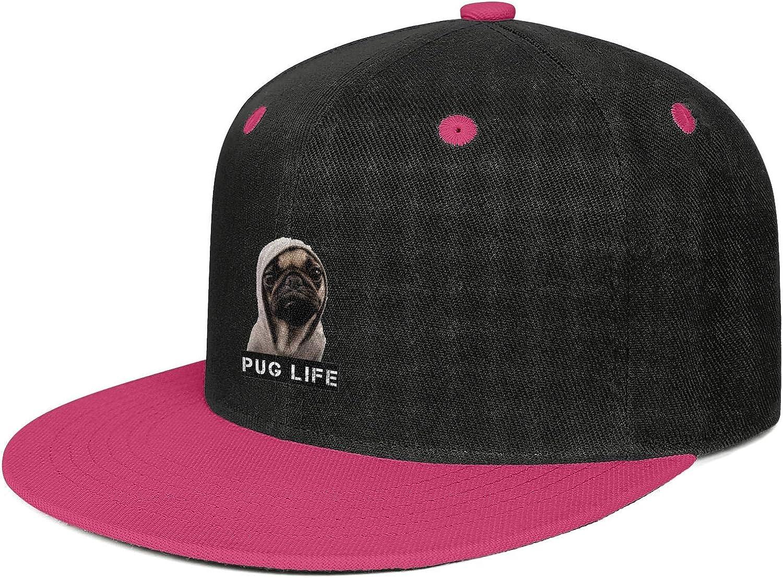 LunchBaggg Pug Life Mens Baseball Caps Cartoon Sunscreen Commuter Hat
