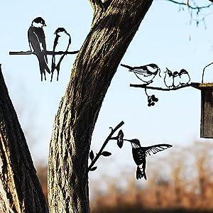3 Pieces Metal Bird Steel Silhouette Metal Wall Art Decor Birds on The Branch Metal Bird Statue Stake Tree Backyard Bird Tree Branch for Home Garden Yard Patio Outdoor Decoration (Simple Style)