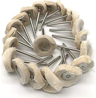 20 قطعة من الصوف لتلميع عجلات عجلات دوارة أداة اكسسوارات ملمع للمجوهرات مرآة 3 مم عرقوب (أبيض)