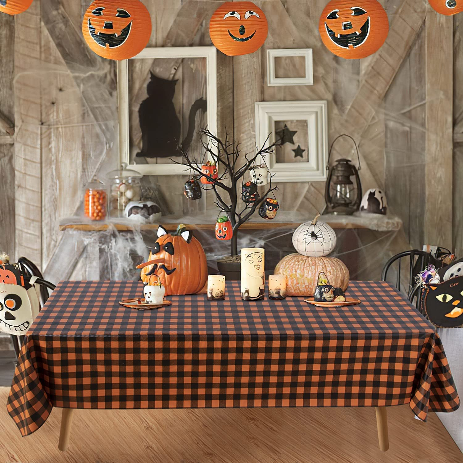 Obstal Halloween 100% Waterproof Vinyl Table Cloth, Oil-Proof Spill-Proof PVC Rectangle Tablecloth, Wipeable Plastic Table Cover for Outdoor, Picnic, Camping, Orange and Black, 60x84 Inch