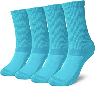 +MD 4 Pack Womens Moiture Wicking Colorful Bamboo Casual Crew Socks, with Cushioned Sole