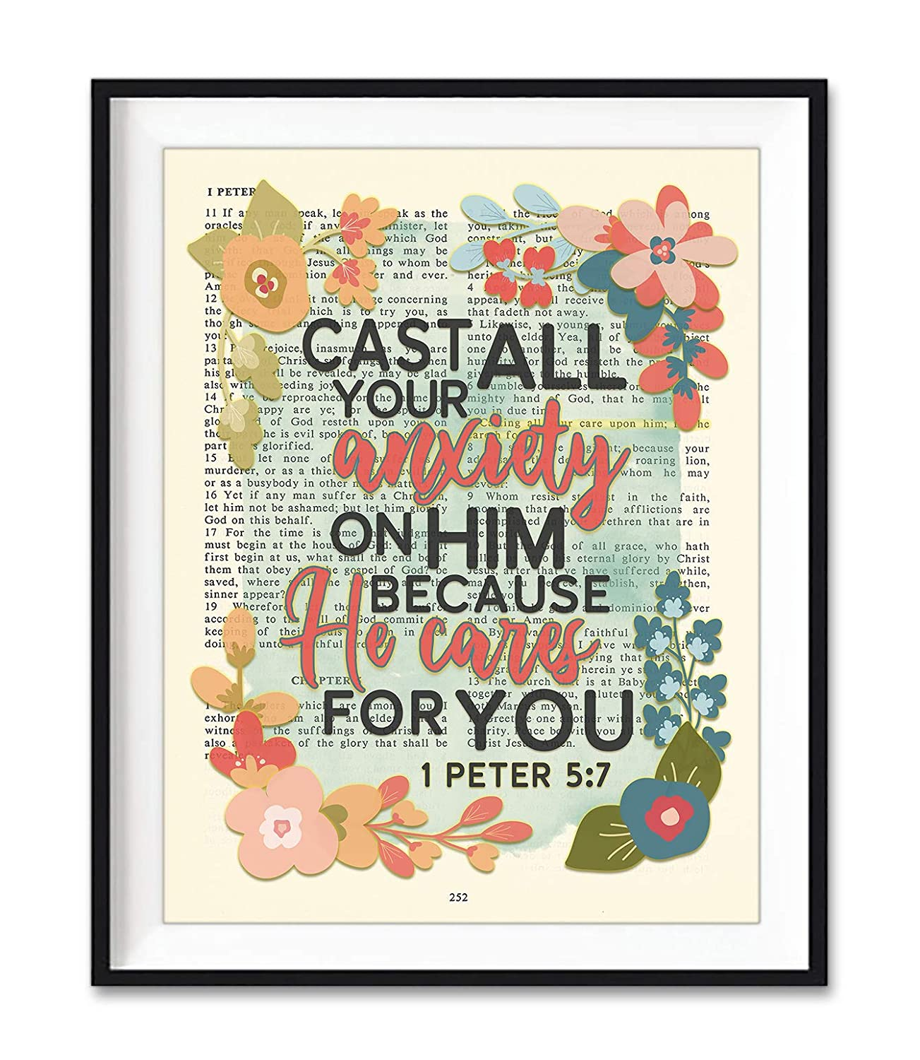 Vintage Bible Page Max 78% OFF Verse Scripture - All Your Anxiety on Daily bargain sale Cast Hi