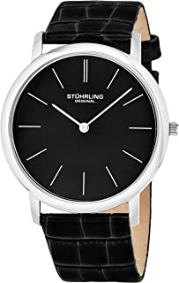 Stuhrling Original Ascot Men's Swiss Quartz Watch With Black Dial Analogue Display and Black Leather Strap 601.33151