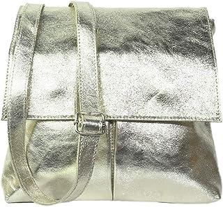 Vera Pelle Umhängetasche, echtes weiches italienisches Leder, doppelte Tasche, leicht, Umhängetasche