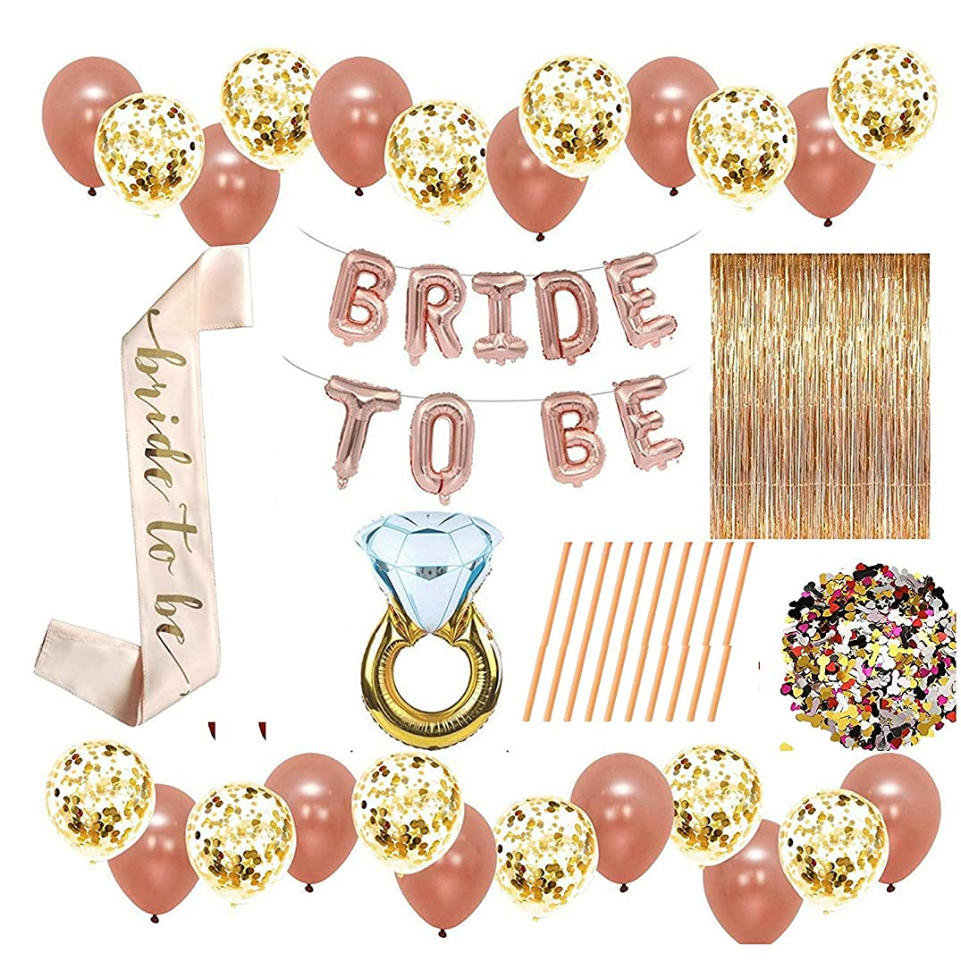228 Rose Gold Bridal Shower Decorations and Games:Bachelorette Gifts Bride to be Banner, Curtains Backdrop, Sash, Ring,Confetti Balloons,Straws, Confetti Party (Rose Gold - 300)