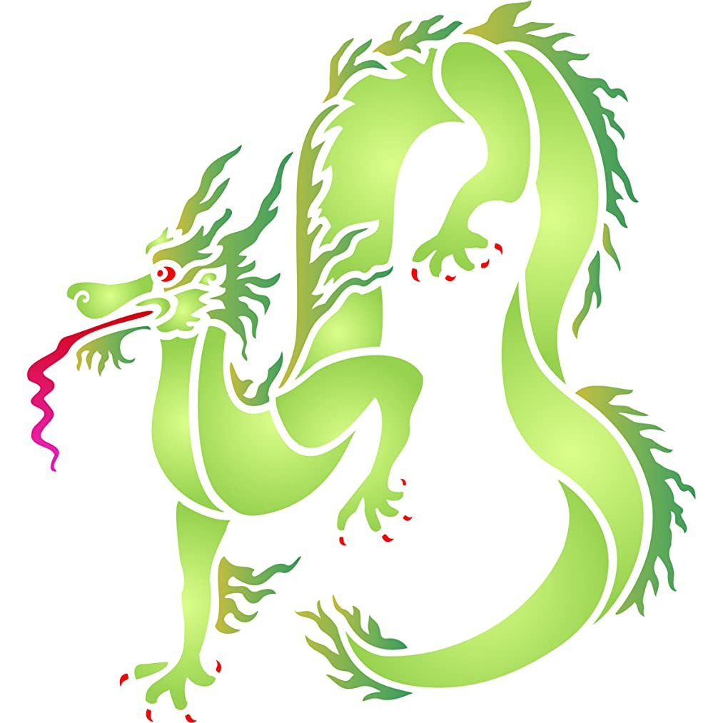 """Dragon Stencil - (size 5""""w x 5""""h) Reusable Wall Stencils for Painting - Best Quality Oriental Chinese Dragon Wall Stencil Ideas - Use on Walls, Floors, Fabrics, Glass, Wood and More…"""