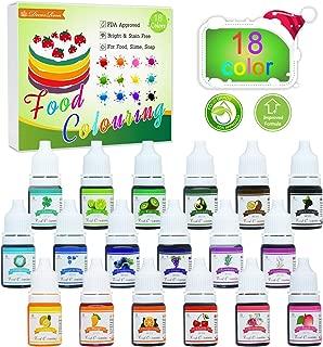Colorante alimentario - Juego de colorante alimentario de pastel líquido concentrado de 18 colores para hornear, decorar, glasear y cocinar, hacer limo y manualidades de bricolaje - Botellas de 6 ml