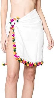 LA LEELA Women's One Size Swimwear Pareo Sarong Bikini Coverup Wrap Embroidered