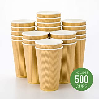 500-CT Disposable Kraft 16-OZ Hot Beverage Cups with Ripple Wall Design: No Need for Sleeves - Perfect for Cafes - Eco-Friendly Recyclable Paper - Insulated - Wholesale Takeout Coffee Cup