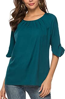 Women's Casual Chiffon Scoop Neck Short Sleeve Pleated Blouse Tops