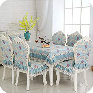 Printing Lace Home Cotton Chenille Kitchen Tablecloth Set Suit Rectangle Table Cloth Chair Cover,Blue,150X200Cm Tablecloth