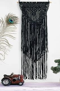 Boho Black Macrame Wall Hanging Woven Decor - Black 16 x 36 Inches Modern Bohemian Farmhouse Wall Art Tapestry Decor for House, Apartment, Dorm Room, Nursery, Party Decorations, Wedding, Wall Ornament