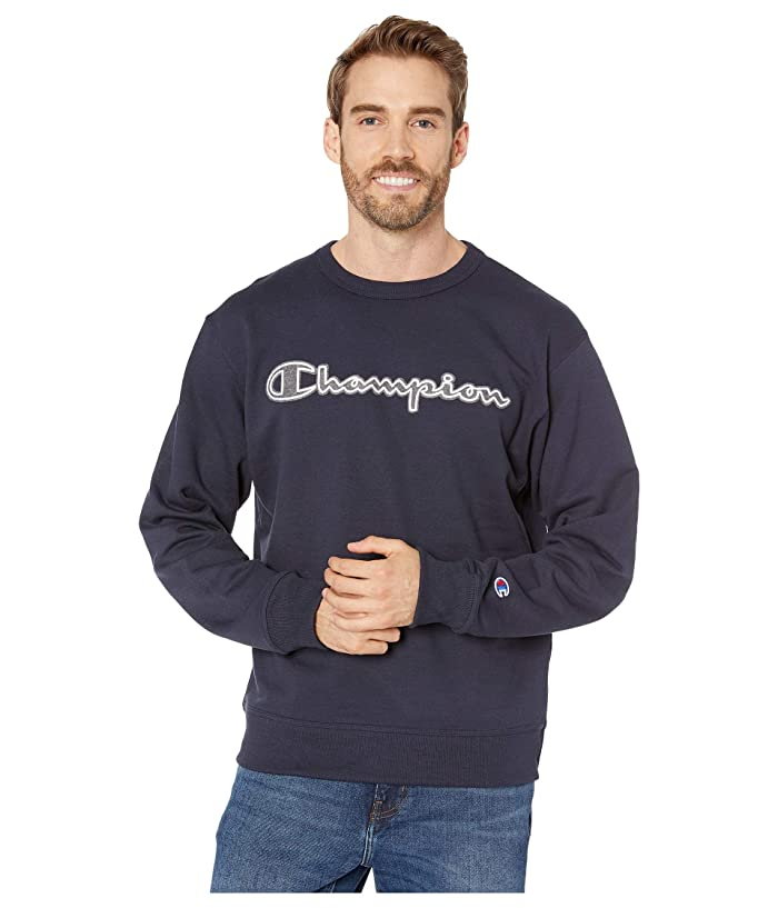 Champion Powerblend Applique Crew (Navy) Mens Clothing