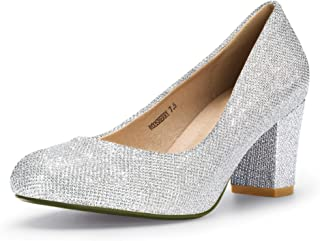 Women's Sherry Dress Block Heels Pumps Closed Round Toe Wedding Bride Shoes