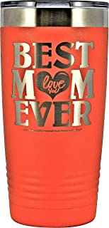 """GIFT FOR MOM - """"BEST MOM EVER ~ LOVE YOU"""" GK Grand Engraved Stainless Steel Vacuum Insulated Tumbler 20 oz Large Travel Coffee Mug Hot & Cold Drink Christmas Birthday Mothers Day (ORANGE)"""