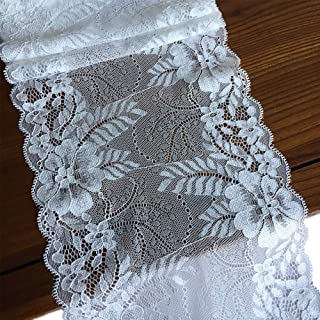LaceRealm 7 Inch Wide Floral Stretchy Lace Elastic Trim Fabric for Garment & DIY Craft Supply- 5 Yard (5199 White)