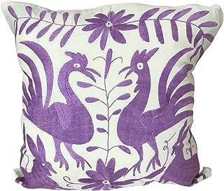 Fodera per cuscino Otomi ricamata a mano - colore lavanda- Decorazioni per la casa - Fodera Cuscino in Cotone Messico - Ot...