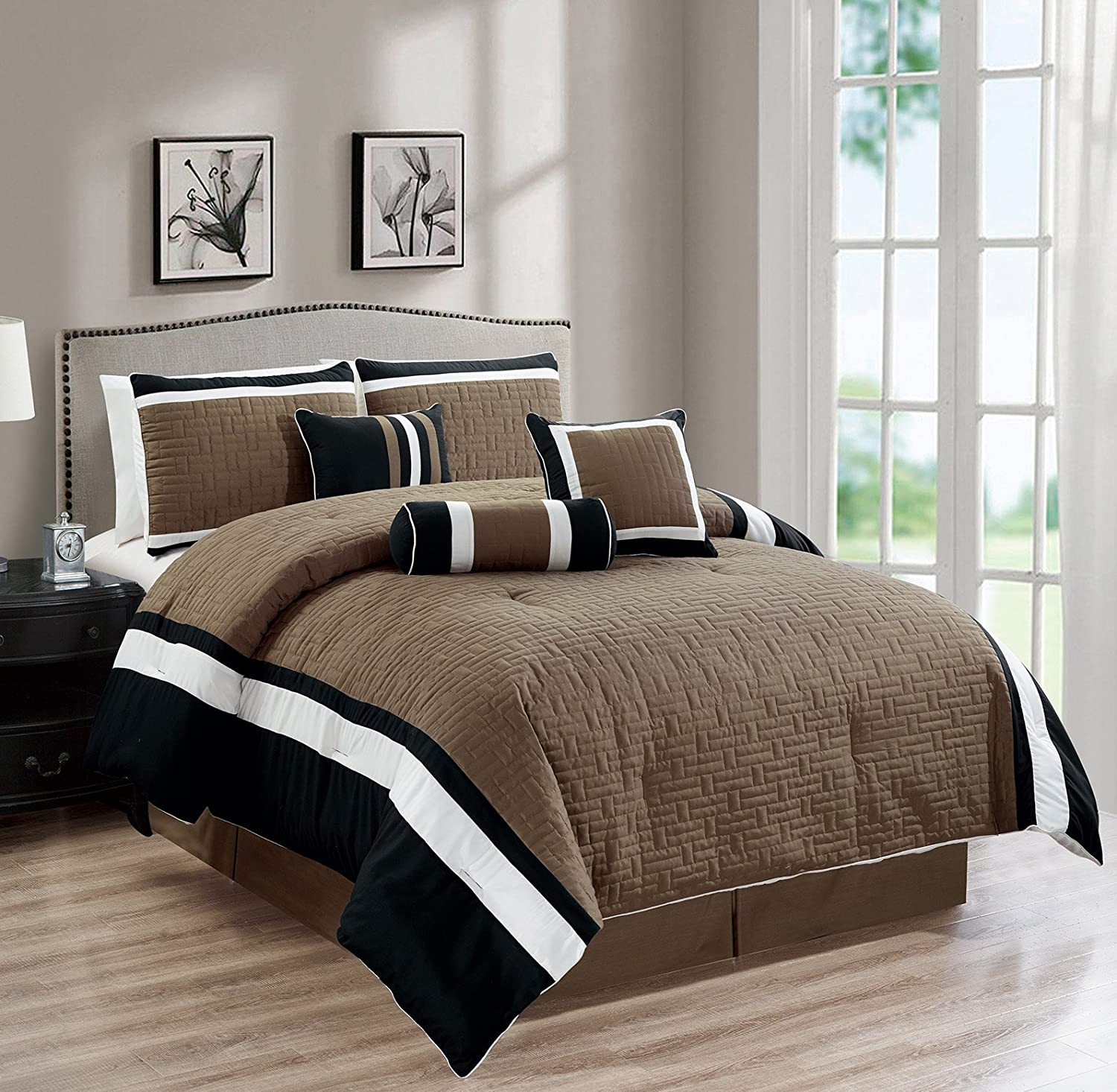 All American Collection New 7 Piece Embroidered Over-Sized Comforter Set (King, Dark Taupe Black)
