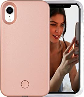 AUYOUWEI iPhone XR Case, LED Illuminated Selfie Light Case Cover [Rechargeable] Light Up Luminous Selfie Flashlight Cell Phone Case for iPhone XR 6.1inch (Rose Gold)