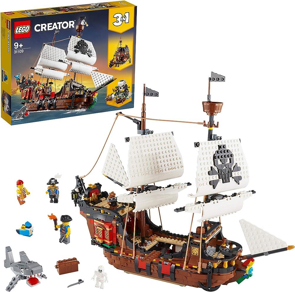 Lego creator galeone dei pirati, taverna e isola del teschio idea regalo set da costruzione 3in1 31109