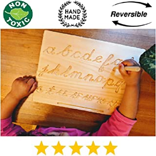 Reversible Montessori Cursive Alphabet | Lowercase+Uppercase | Cursive ABC Letters Tracing Board with Wooden Pen by Cosmo-Crafts … (C- Reversible NO Color)