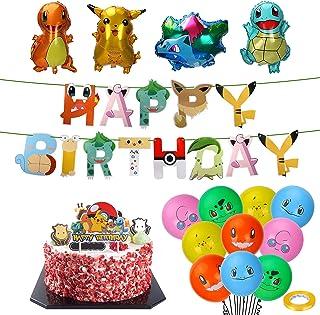 Pokémon verjaardagsdecoratieset, Pokémon kinderverjaardagsfeestdecoratie, Pikachu Pokémon luchtballon, folieballon Pokemon...
