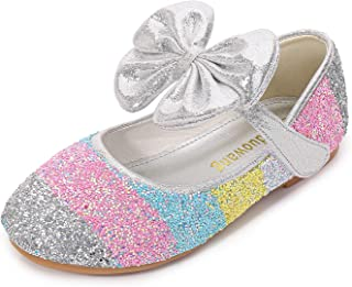 YOSICIL Zapatos de Tacon con Arco para Niñas Zapatillas de Lentejuelas Zapatos de Tango Latino Niña Zapatos de Princesa pa...
