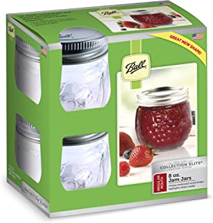 Ball FBA_1440081210 Jelly Elite Collection Jam Jar (4 Pack), 8 oz, Clear, RM