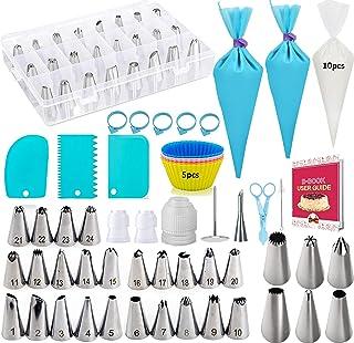 Douilles Pâtisserie, 63 Pièces en Acier Inoxydable DIY Kits, Douilles, Coupleurs, Puff Douille, Brosse, DIY Kits pour Déco...