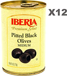 Iberia Pitted Black Olives 6 oz (Pack of 12) Premium Grade Medium Olives from Spain, Ideal for Pizzas, Salads, Sauces, Ste...