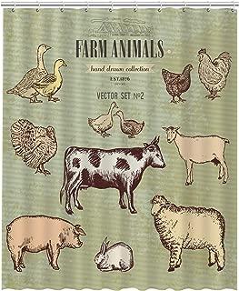 GCKG Farm Animals Vintage Collection Cow Pig Goat Sheep Chicken Duck Goose Turkey Rabbit Waterproof Bathroom Shower Curtain 60x72 inch