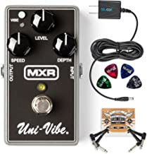 MXR M68 Uni-Vibe Chorus/Vibrato Pedal Bundle with 2-Pack of Pedal Patch Cables, Blucoil Slim 9V 670ma Power Supply AC Adapter and 4-Pack of Celluloid Guitar Picks