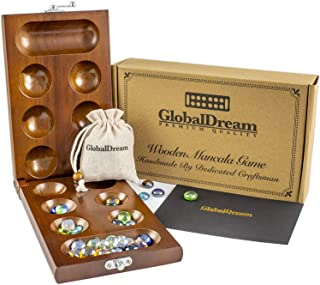 GlobalDream Mancala Board Game with Stones - Solid Hardwood Folding Game Board - Stunning Colored Marbles - 2 Player Game for The Whole Family - Portable 8.7 x 5.1 x 1.2 inch Folded Size