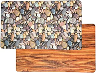 Art3d Premium Reversible Anti Fatigue Kitchen Mat Non-Slip Kitchen Rug Standing Floor Mat (18x30, Pebble & Wood)