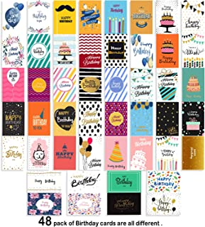 Happy Birthday Cards Assortment - 48 Pack Unique Designs - Birthday Cards Box Set - Blank Birthday Cards Envelopes Included - 4 x 6 Inches Assorted Cards for Men Women Kids- Home Office-Bday Cards