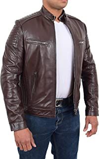 Mens Fitted Biker Style Real Leather Jacket Zip Up Coat Ron Brown