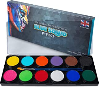 Professional Face Paint Kit – by Blue Squid PRO, 12x10g Classic Color Palette, 𝗡𝗘𝗪 Professional Face & Body Painting Supplies SFX, Adult & Kids, Superior Safe Paint for Sensitive Skin Halloween