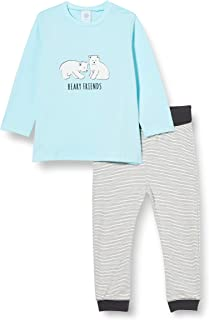 Sanetta Schlafanzug New Angel Pyjama pour garçon Bleu Clair avec Un Pantalon à Fines Rayures et Une Illustration d'ours Po...