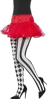 Smiffys Smiffys Damen Harlekin Strumpfhose, One Size, Weiß und Schwarz, 45027