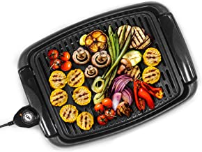 Maxi-Matic EGL-3450 Indoor Electric Non-Stick Grill Adjustable Thermostat, Dishwasher Safe, Faster Heat Up, Low-Fat Meals, Easy Clean Design, 13 x 9-inch, Black