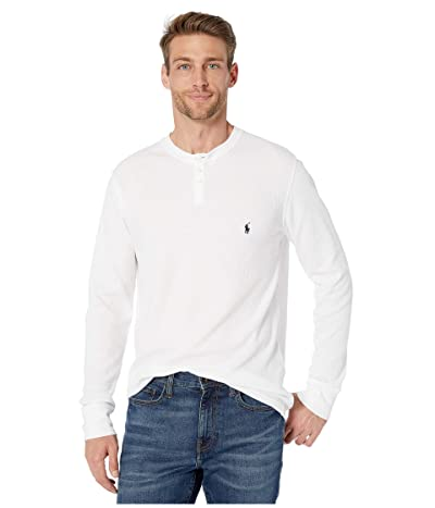 Polo Ralph Lauren Waffle Long Sleeve Henley (White/Cruise Navy Pony Print) Men